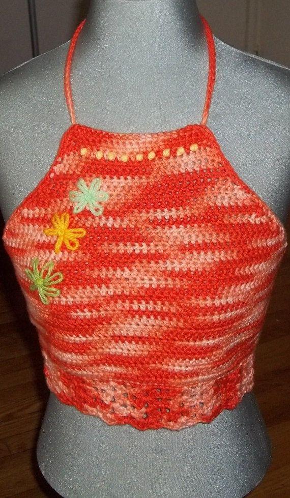 Crocheted Cotton halter top, Summer wear, Festival wear, Beach wear, Bohemian style. tank top, yoga top. Women fashion. Top for women