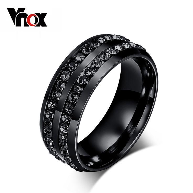 Vnox Black Crystal Rings For Women Stainless Steel Rhinestone Wedding Ring USA Size