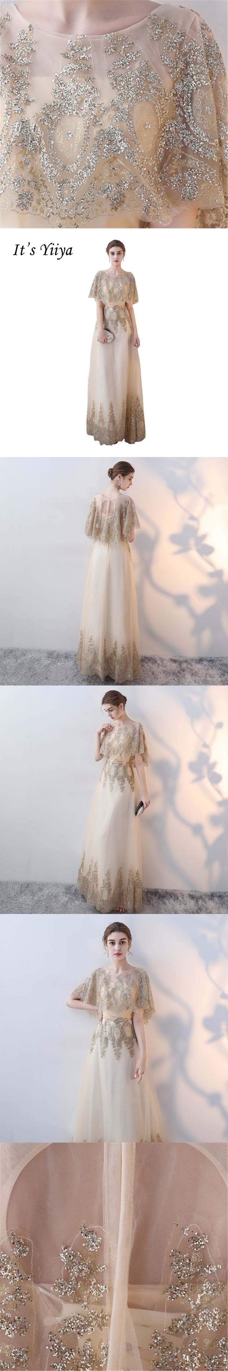 It's Yiiya New Gold O-Neck Bat-wing Sleeves Floor Length Evening Dresses Luxurious Bling Sequined Sexy Illusion Prom Dress X289