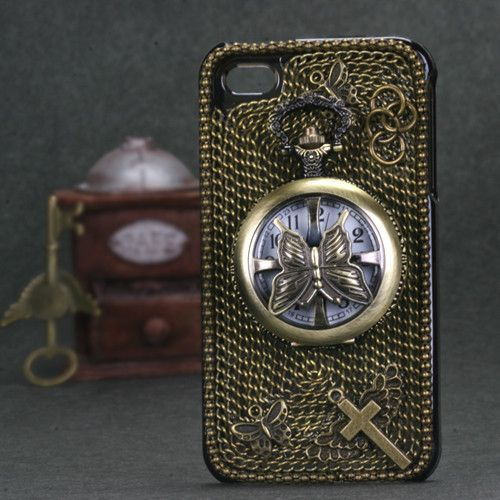 Collectible 3D Decoden Diamante iPhone 4/4S Case - Butterfly Watch