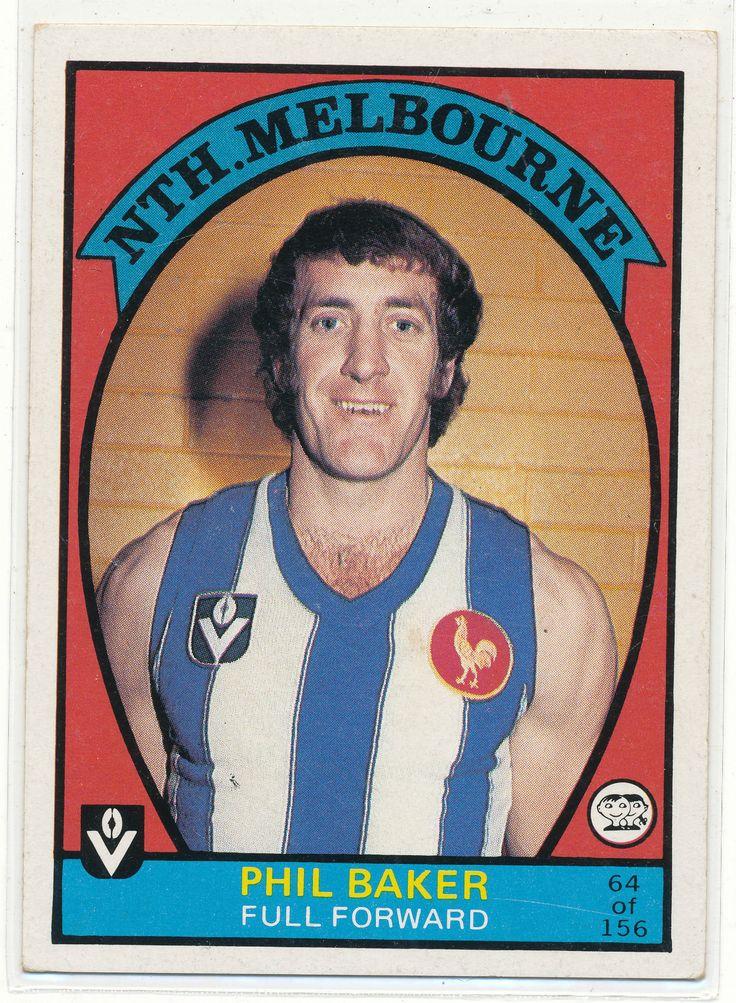 SCANLENS VFL AFL 1978 FOOTY CARD FABULOUS PHIL BAKER NORTH MELBOURNE KANGAROOS au.picclick.com