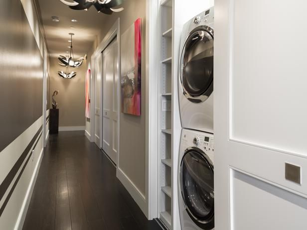 No laundry room? No problem.  But add shelves for detergent, etc. - Powder Room Pictures From HGTV Urban Oasis 2014 on HGTV