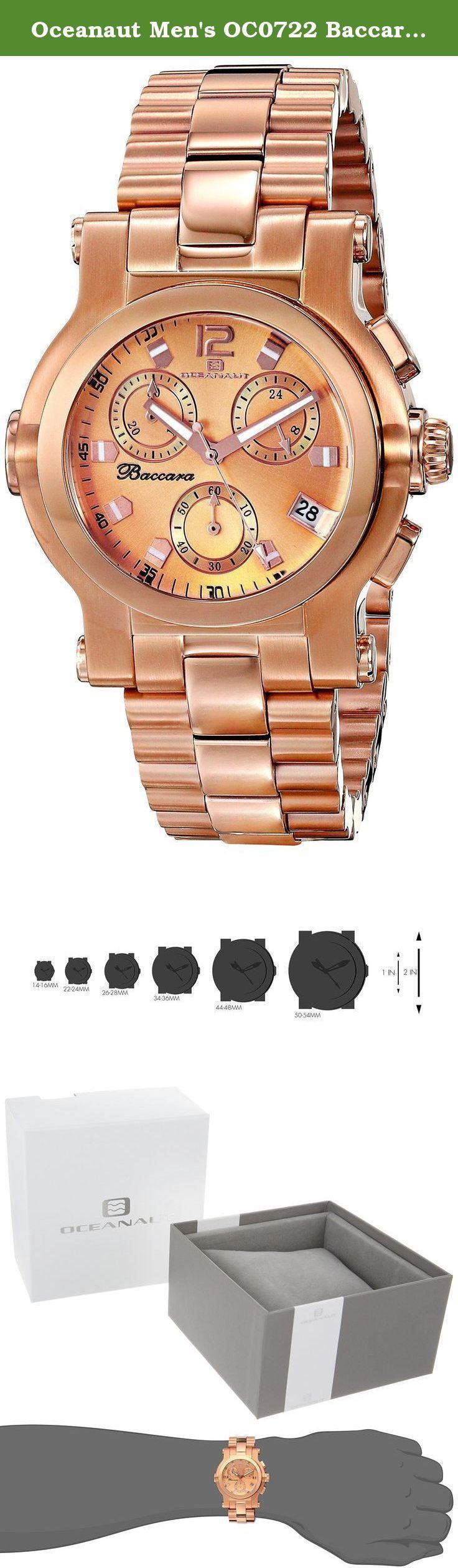 Oceanaut Men's OC0722 Baccara Analog Display Quartz Rose Gold Watch. Oceanaut Men's Baccara Stainless steel case, Stainless steel bracelet, Rose Gold dial, Quartz movement, Scratch resistant mineral, Water resistant up to 5 ATM - 50 meters - 165 feet.