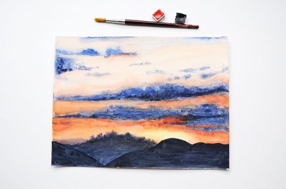 Sunset Sky Watercolor Painting / Original by SundayWatercolor