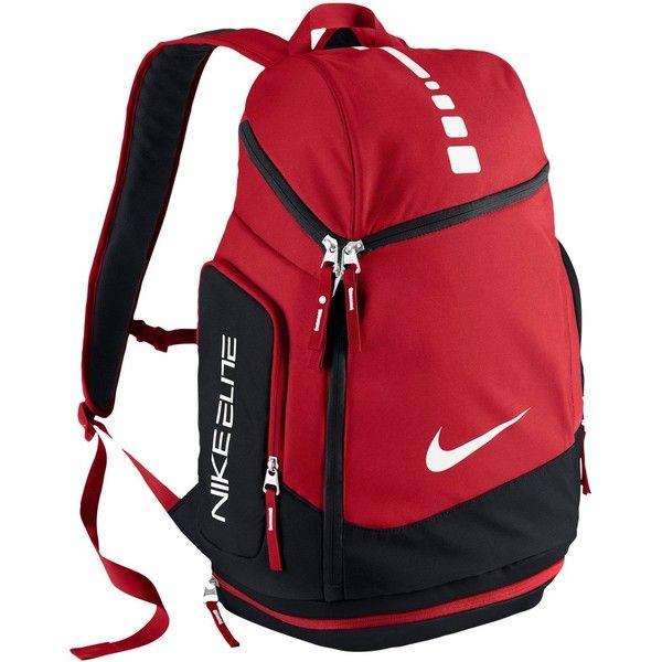 Nike Hoops Elite Max Air Team Backpack ($80) ❤ liked on Polyvore featuring bags, backpacks, nike, red bag, travel daypack, red backpack and travel backpack