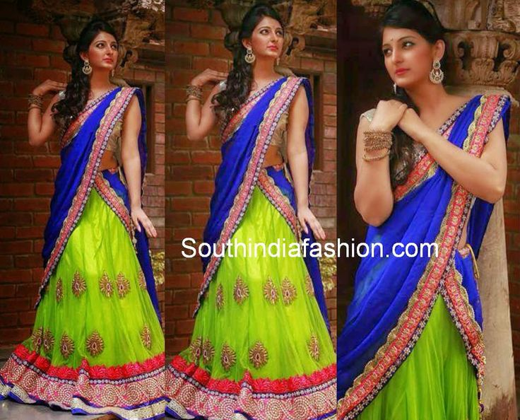 designer half sarees ,I like the colour combination