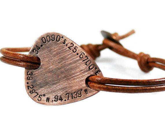 Custom Coordinates Rustic Leather Bracelet. Men's