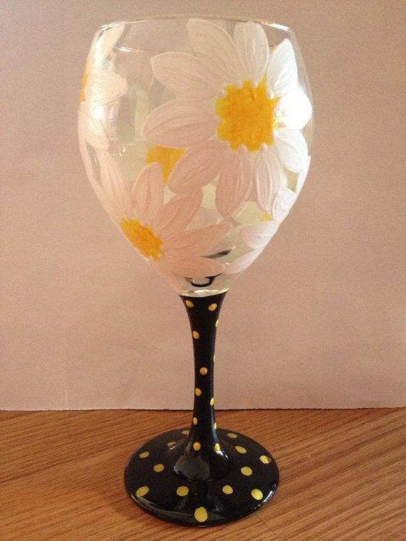 Flowers painted wine glass