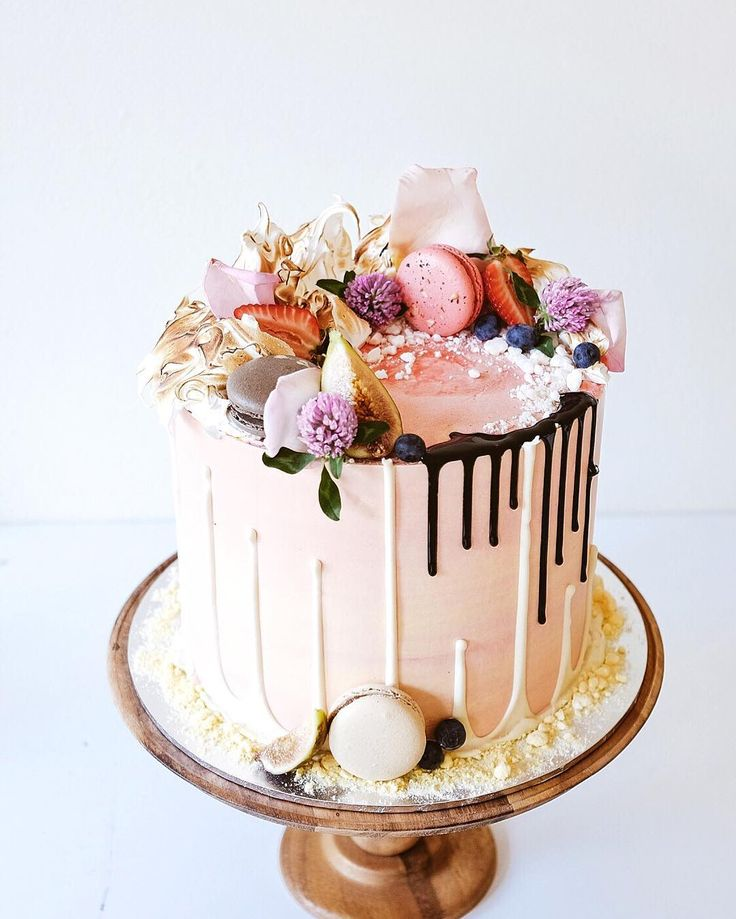 strawberry white chocolate drip cake by Sydney baker Cakes by Cliff #creative…