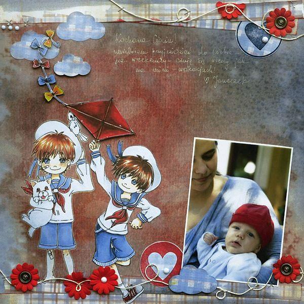 Scrap wykonany na papierach kolekcji Latarnia Morska Mały Lord z użyciem papierowych kwiatków, ćwieków vintage, stempla serduszka
