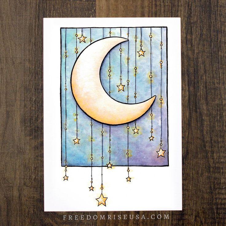 Moon + Stars Art Print | Art by Becca Stevens | freedomriseusa.com |@freedomrise
