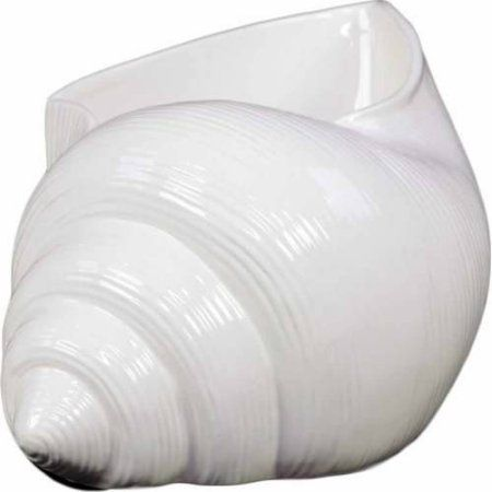 Urban Trends Collection: Ceramic Seashell Figurine, Gloss Finish, White