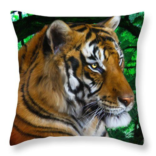 Tiger Contemplation Throw Pillow - tiger digital painting by Tracey Everington