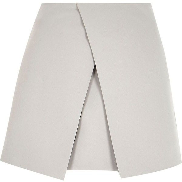 River Island Grey wrap front mini skirt ($16) ❤ liked on Polyvore featuring skirts, mini skirts, bottoms, faldas, grey, sale, women, mini skirt, grey skirt and short mini skirts
