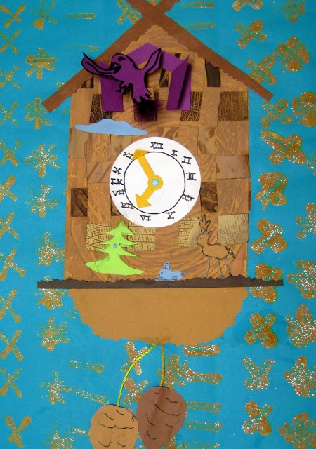 cuckoo clock art lesson. Cute for kindergarten, learn to tell time....