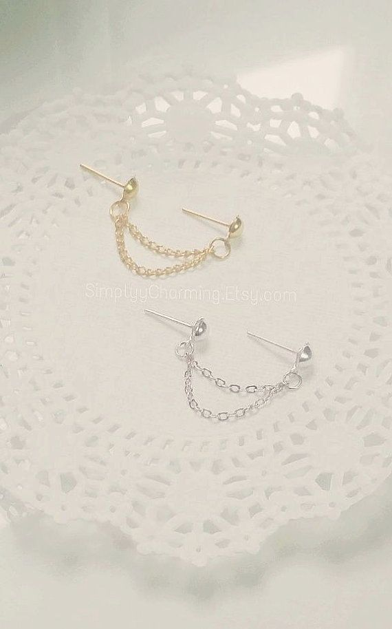 Simple Silver/Gold Double Lobe Chain Earring by SimplyyCharming