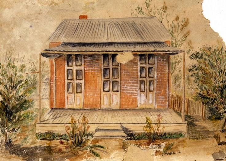 Ca. 1900 Drawing of the home of Rev. W. W. Davey, Pastor of Castlemaine Church of Christ.