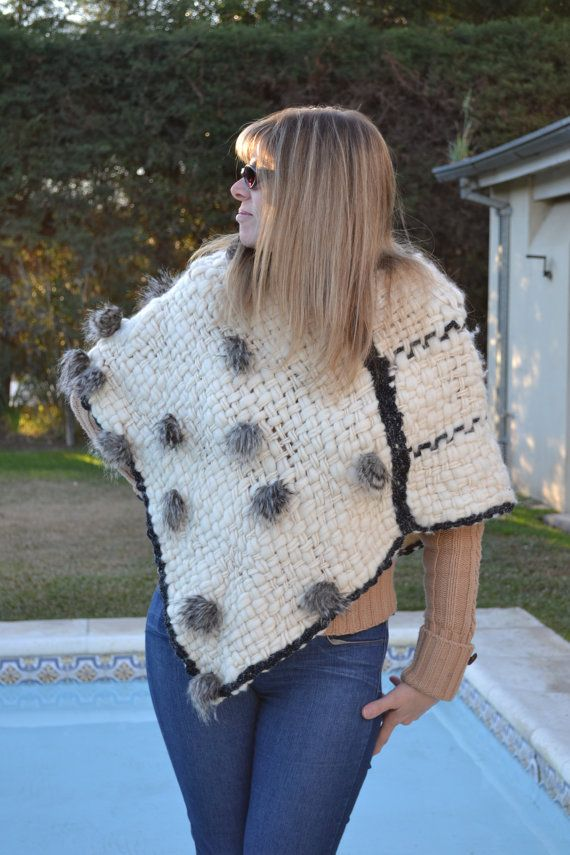 New Hand Woven Fleece Ivory Wool Poncho with furl by Cozyyarn, $98.00