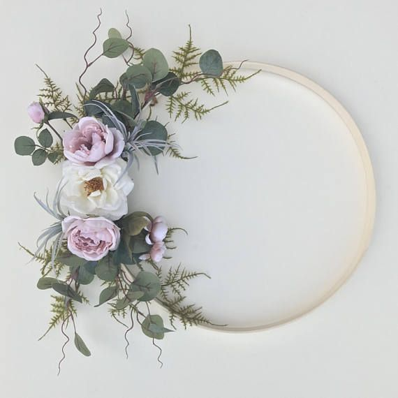 18 embroidery hoop wreath. Oh, I just love how this wreath turned out! Its whimsical and delicate, just dreamy! The roses are a light blush with a hint of a dusky tone and the white rose is a real-touch artificial flower, making it look so amazing