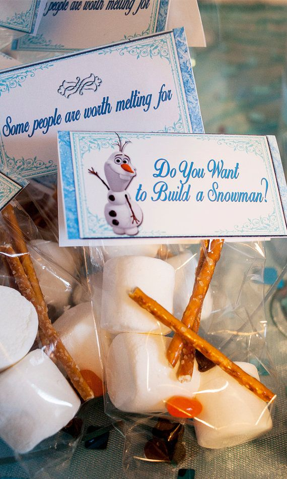Do You Want to Build a Snowman? Snowman bag toppers for a great party game, or a thank you party treat    This Listing Includes:    1-8.5x11 sheet