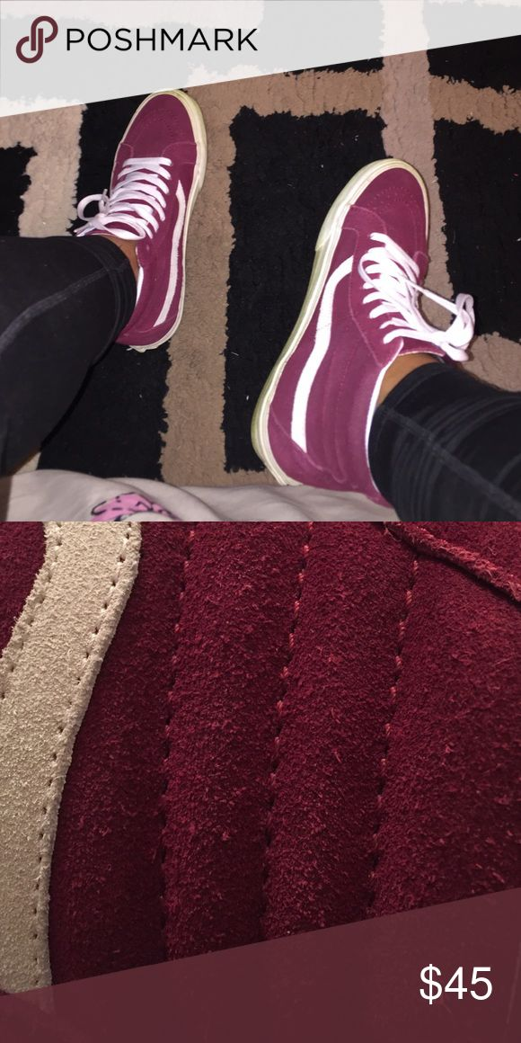 Burgundy Sk8 hi Vans Burgandy with white [ SIZE 9 IN MEN ! ]they have been worn ! IF UPU ARE INTERESTED JUST LET ME KNOW❌NO TRADES❌FIRM PRICE❌ VANZ Shoes