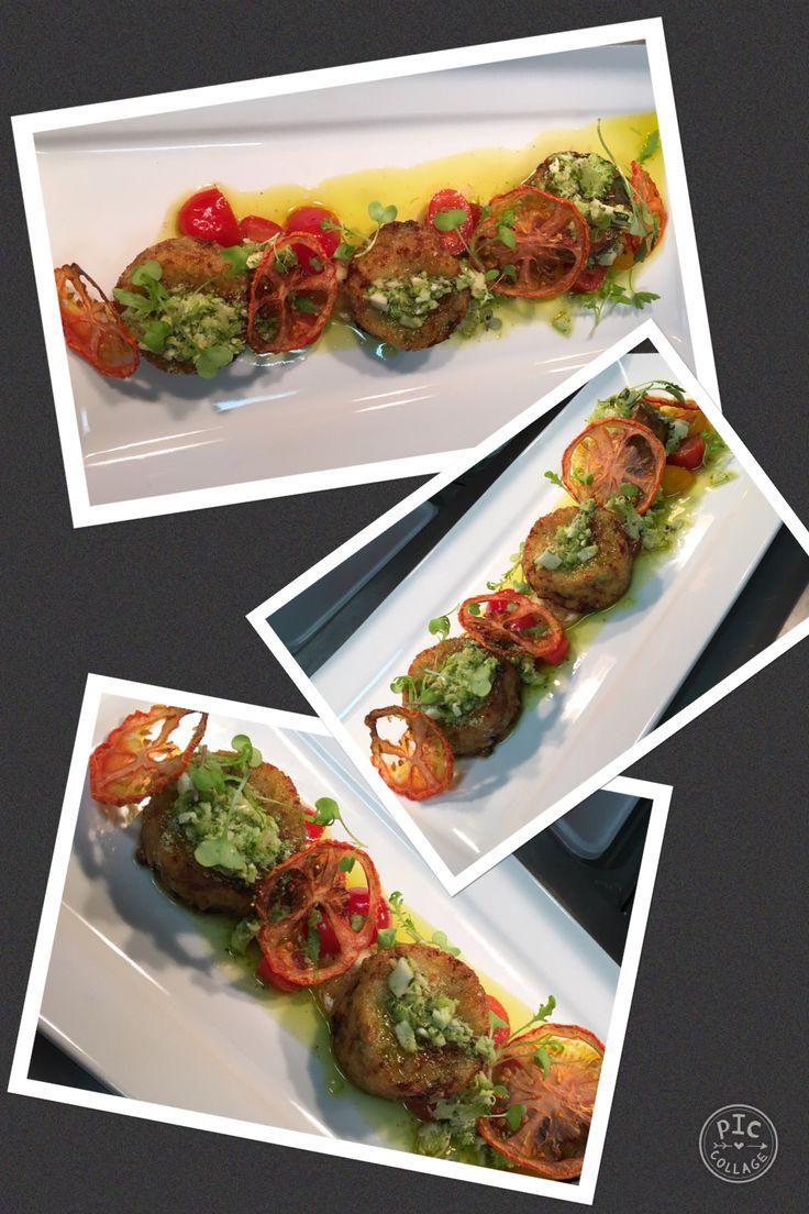 Potato & Truffle Rosti, Broccoli Pesto, & Baby Heirloom Tomato Salsa