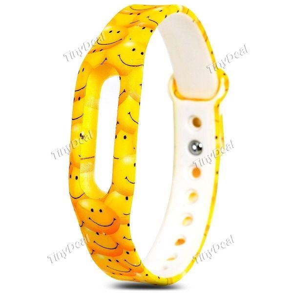 Yellow Smile Face Pattern Xiaomi Miband Bracelet Wrist Strap for Miband / Miband 1S Smart Watch