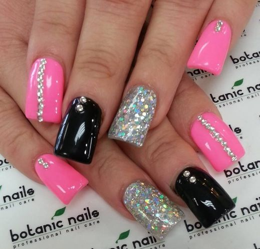 Pink black glitter nail design