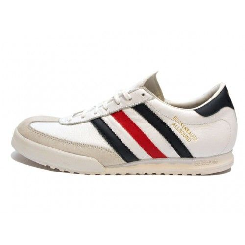 Adidas Beckenbauer with Red & Blue Stripe.  The adidas Beckenbauer Allround sneaker was released back in 1982 was made for German soccer legend Franz Beckenbauer. With a nod to the original Beckenbauer Allround, Adidas has maintained a classic with this stylish '80s look.