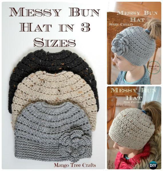 Crochet Cluster Stitch Messy Bun Kids Adult Size Free Pattern - -Crochet Ponytail Messy Bun Hat Free Patterns & Instructions