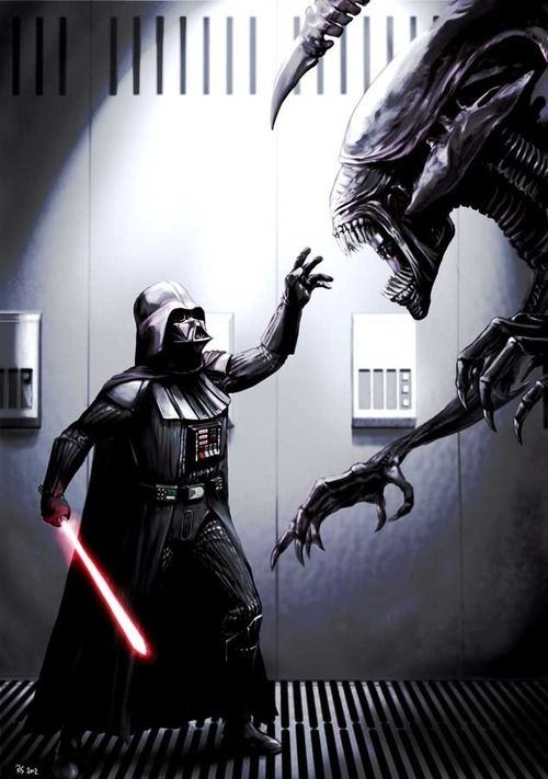 Darth Vader & Darth Maul vs. Aliens — GeekTyrant. scifi grisly