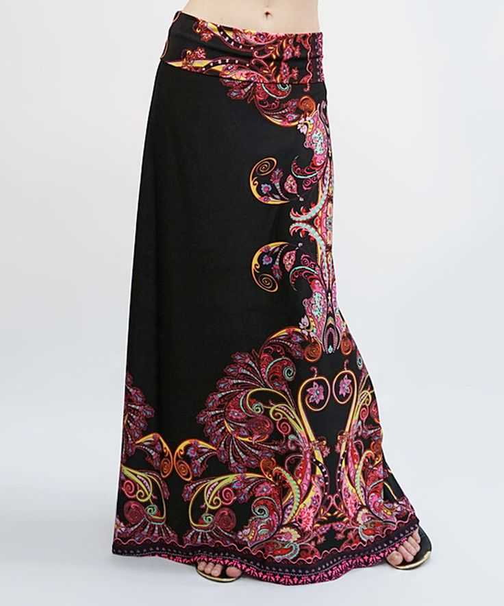 Look at this Black & Burgundy Paisley Foldover Maxi Skirt on #zulily today!