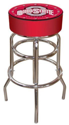 NCAA Ohio State logo padded bar stool by Trademark Global. $69.99. Commercial grade vinyl seat. Long lasting Ohio State Logo. 30 inch high bar stool great for bar pub table and bars. Adjustable levelers  7.5 inch high by 14.75 diameter padded seat. Features include:   Officially Licensed. Ohio State University Bar Stool will be the highlight of your bar and game room.
