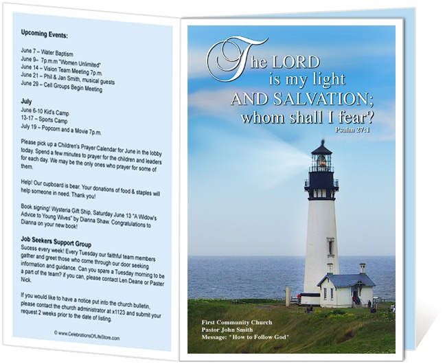 church bulletin templates lighthouse church bulletin template with bible verse from psalm 271