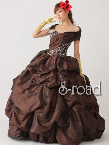 Amazon.co.jp: ブラウンオフショルダーエレガントプリンセスライン ウエディングドレス 演奏会ドレス パーティドレス: 服&ファッション小物