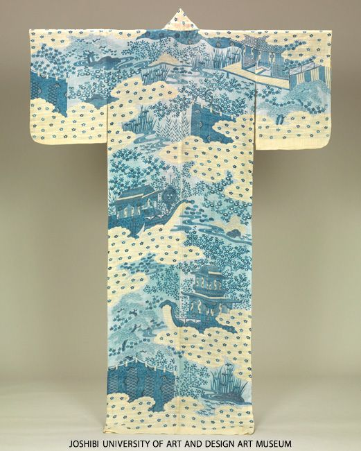 Katabira with pleasure boat ride party at a pond, 18th century, Paste-resist dyeing and embroidery on white plain weave ramie.