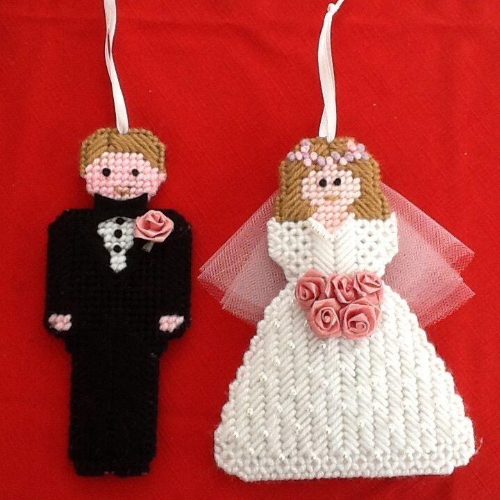 Bride and groom ornaments, handmade, wedding, plastic canvas #Handmade
