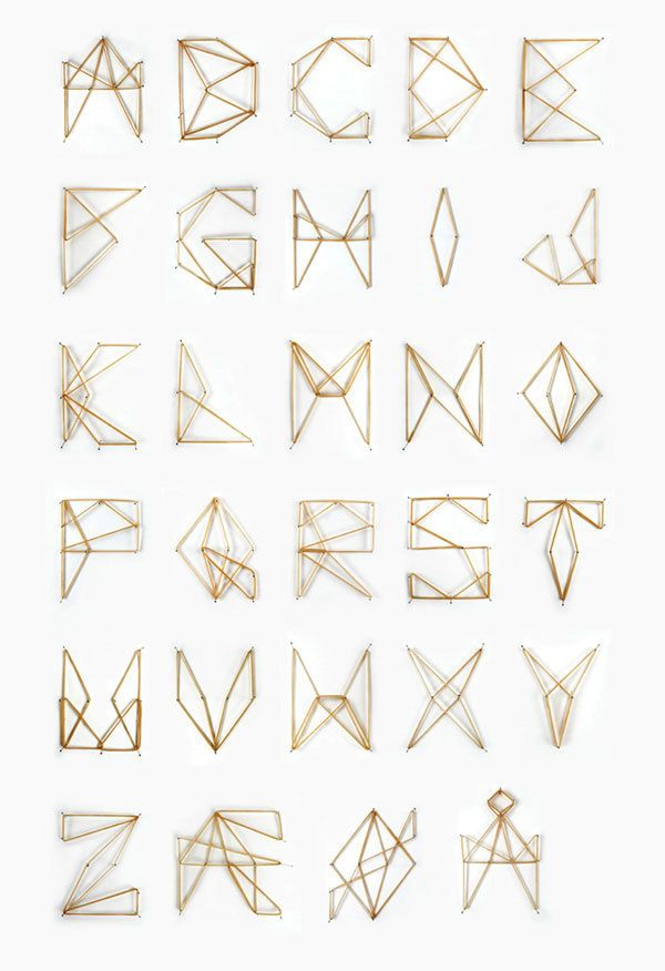 Elastic Font by Jenny Kyvik Hutchens, via Behance -- Alphabet made with rubber bands. Very creative!