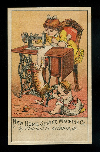 Naughty Cat on Sewing Machine Victorian Trade Card New Home Sewing Machine Co