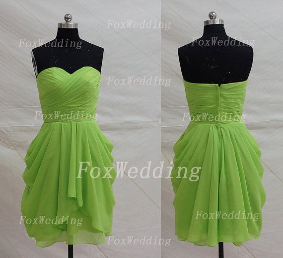 Cool Strapless Bridesmaid Dress Lime Green Short Chiffon Sequin Party