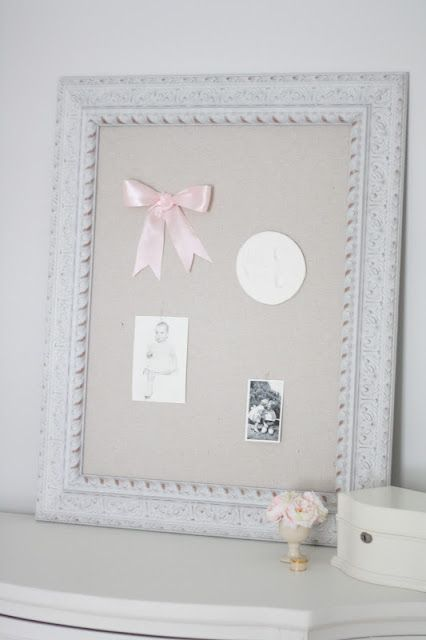 Julie of Coordinately Yours bought our shabby chic corkboard and covered the cork with fabric for her little girl's room!: Celebrates Life, Idea, Chic Pinboard, Shabby Chic, Blanner Entertaining, Design Blog