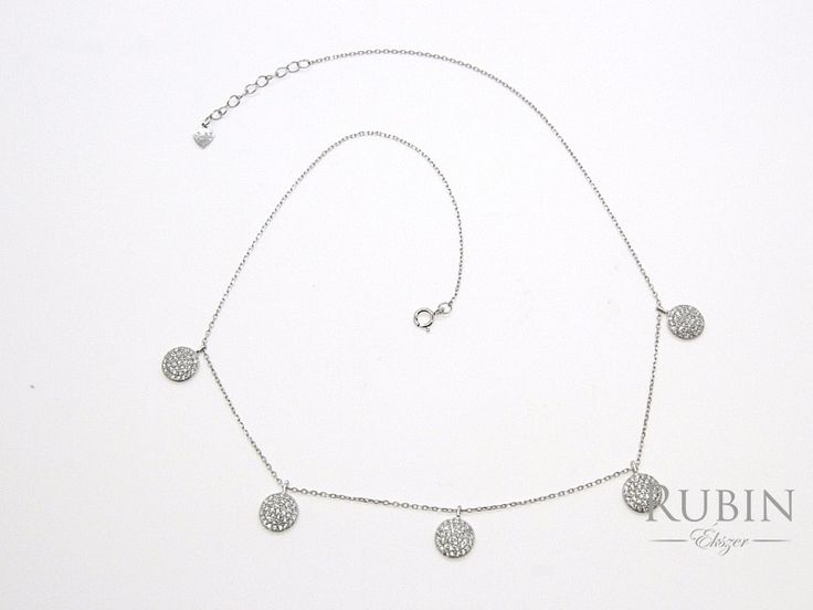 Cirkónia köves ródiumos ezüst fantázia nyaklánc