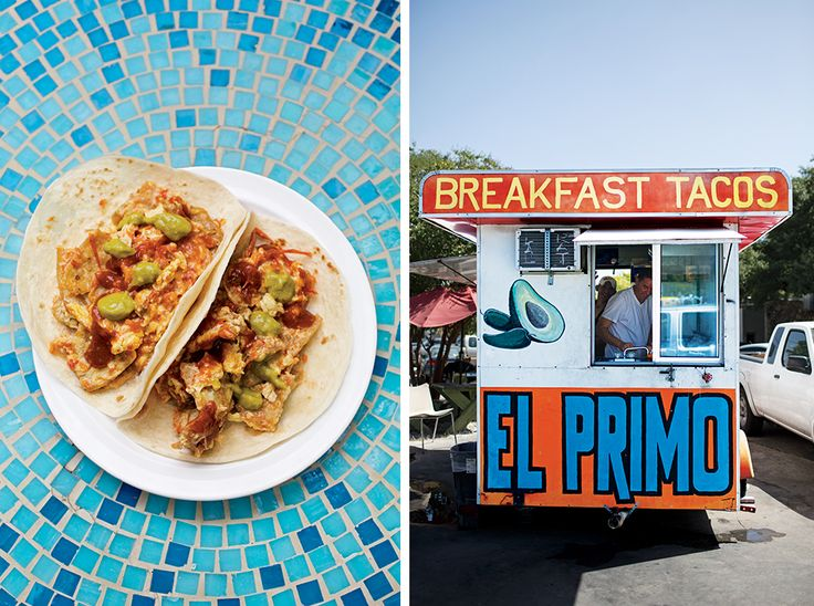 Where to Find the Best Tacos in Austin - Bon Appétit. Left: Migas tacos at Tamale House East; Right: El Primo is known for their breakfast tacos.