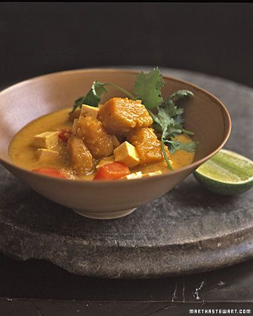 Curried Coconut Pumpkin Stew - Serve this stew over brown rice or with whole-grain bread. You can also replace the pumpkin with squash or young carrots. The tofu, which is added to the stew in the last 5 to 10 minutes, absorbs the spicy flavors of the broth