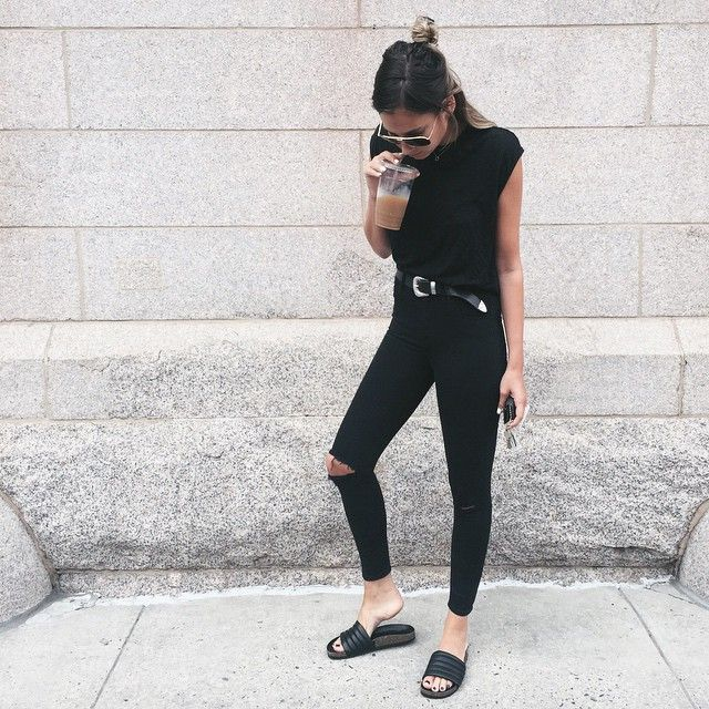 78 Best Slides Outfits Images On Pinterest All Black Everything Casual Styles And