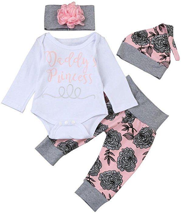 8adec6896c74 Amazon.com  Lanhui Newborn Baby Girl Letter Romper Tops+Floral Pants ...