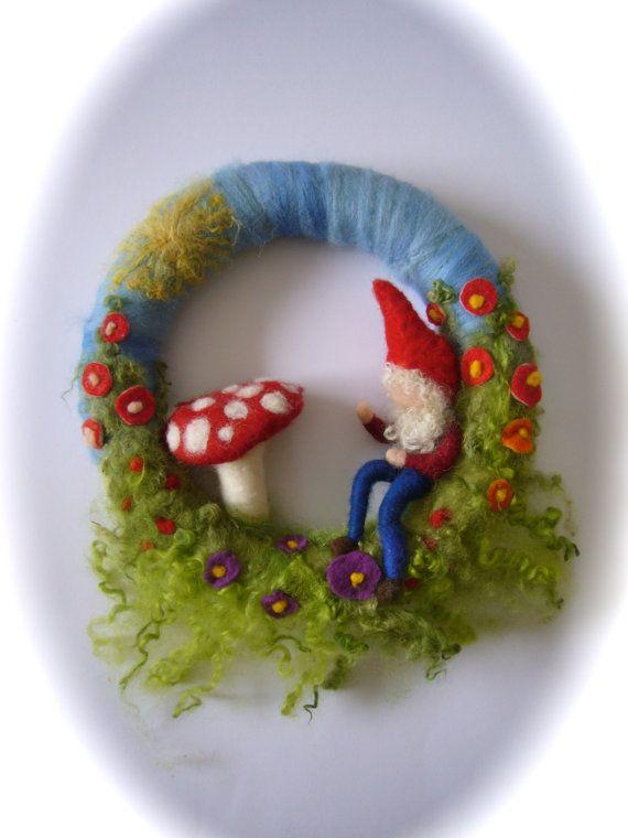 Toadstool Wreath. Gnome . Mushroom.  Needle Felted. Waldorf.Wool