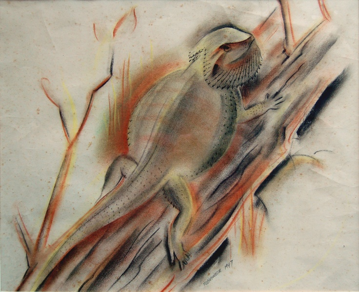 Bearded dragon by Frank Hinder, 1947. Taken from, 'Camouflage Australia: art, nature, science and war'.