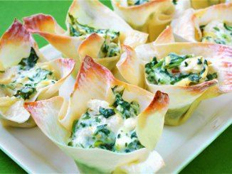 Spinach Artichoke Cups... #CreamCheese #FrozenSpinach #RedPepperFlakes #Recipe