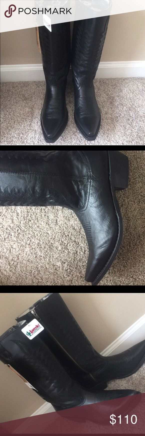 Laredo women's black cowboy boot with zipper 8.5 Brand new with tags- I only tried these on in the house.  Black leather with inside zipper and super soft lining. A little too wide for me. Laredo Shoes